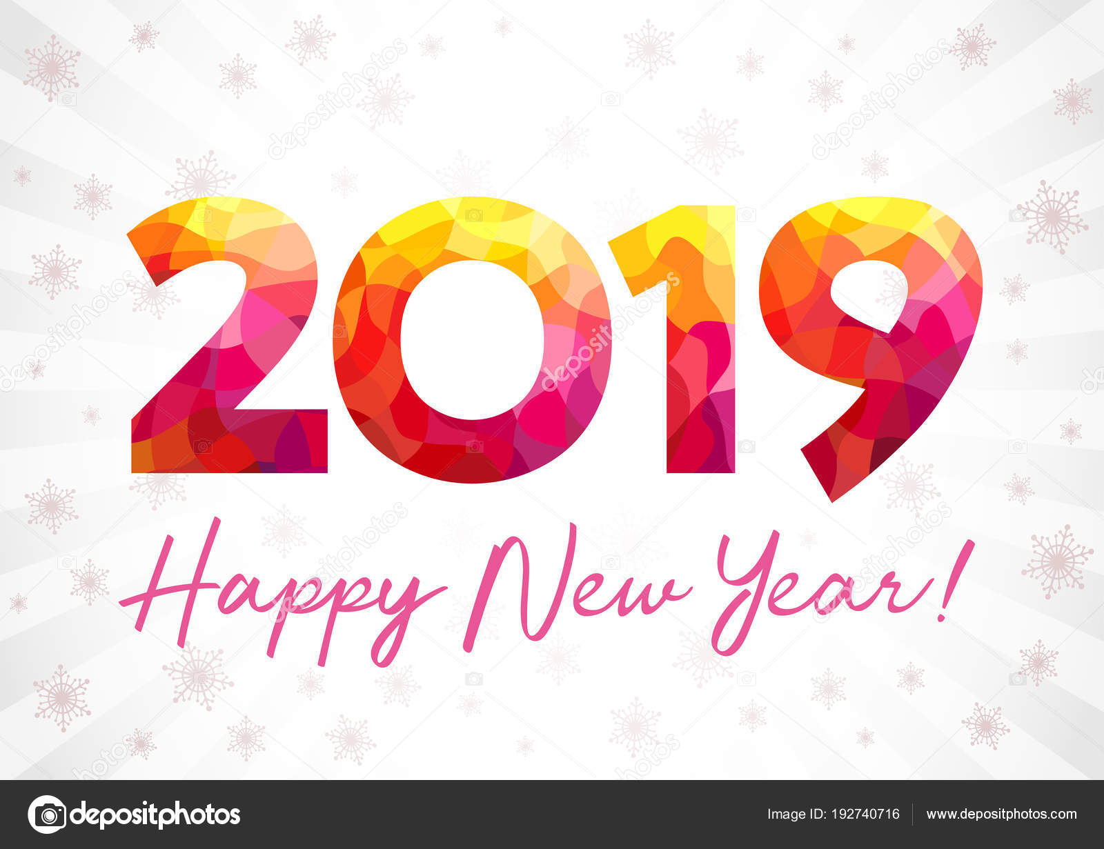 2019 Happy New Year Xmas Greetings White Snowy Winter Background ...