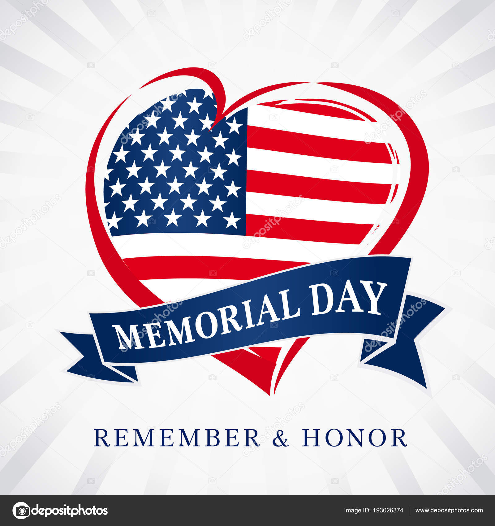 209f5511dcb8 Memorial Day Remember Honor Heart Flag Light Beams Banner Happy ...