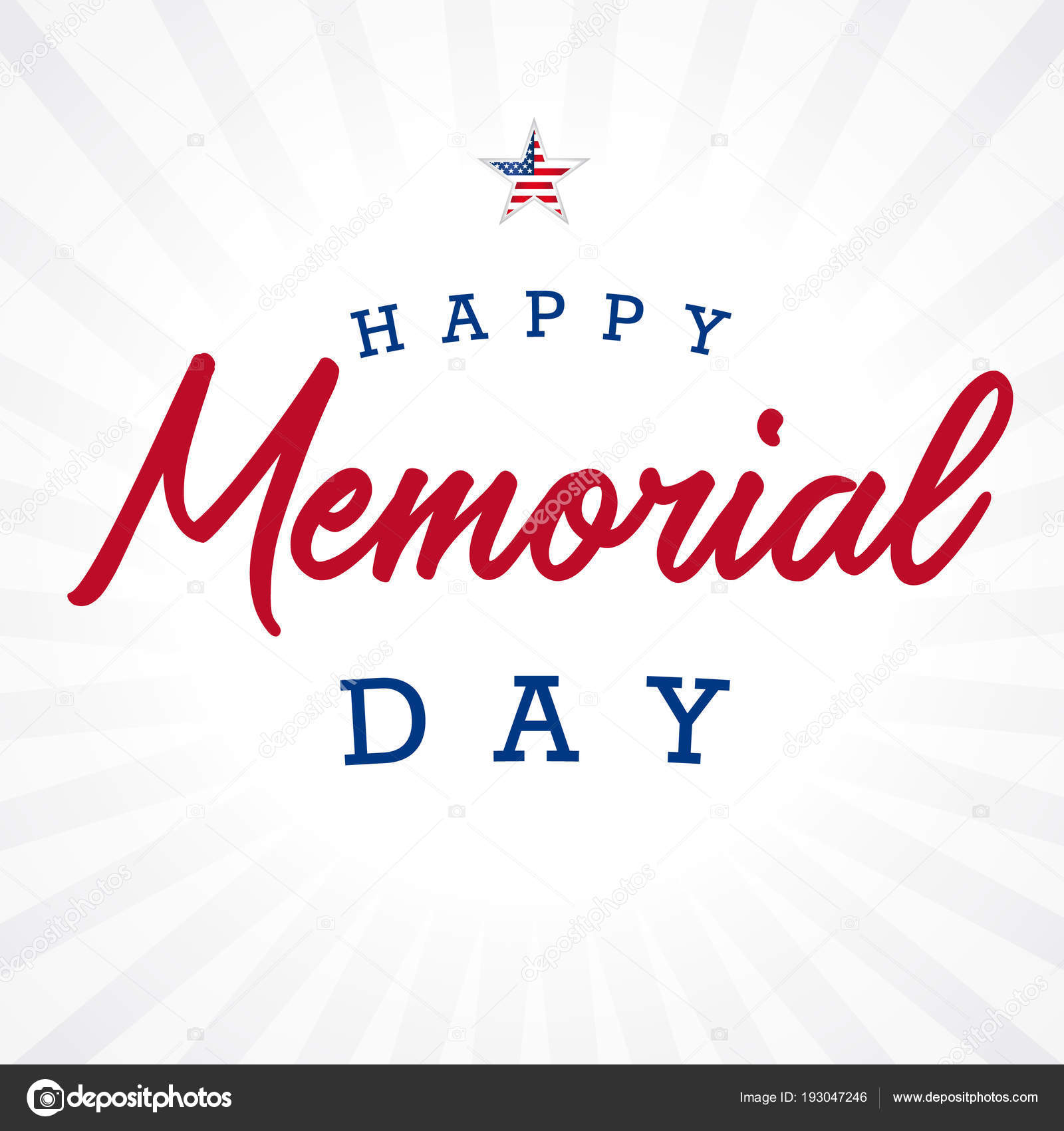 happy memorial day star light beams banner memorial day lettering