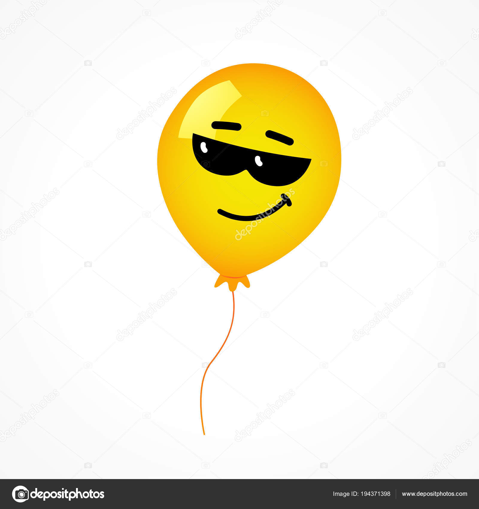 Smile With Sunglasses And Yellow Helium Balloon On White Background Emoji Wearing Dark For Happy Birthday Card Or Banner