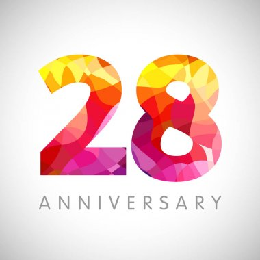 28 th anniversary numbers. 28 years old yellow coloured logotype. Age congrats, congratulation idea. Isolated abstract graphic design template. Creative 2, 8 3D digits. Up to 28% percent off discount.