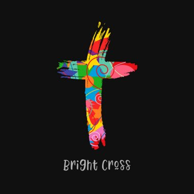 Cross concept in brushing style. Christian church vector logo. Colored crucifixion. Religious symbol and lettering concept. Abstract isolated graphic design template. Creative idea, black background.