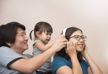 Happiness of Asian  family.