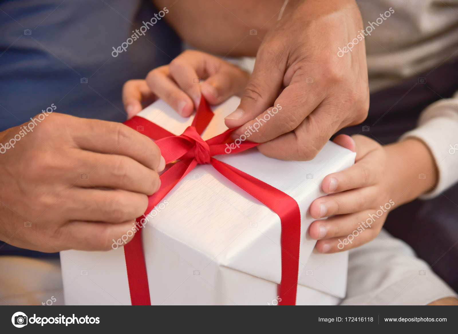 Asian Boy And Elderly Man Holding On Red Ribbon Of White Gift Box Birthday Christmas New Year Photo By Eggeeggjiew