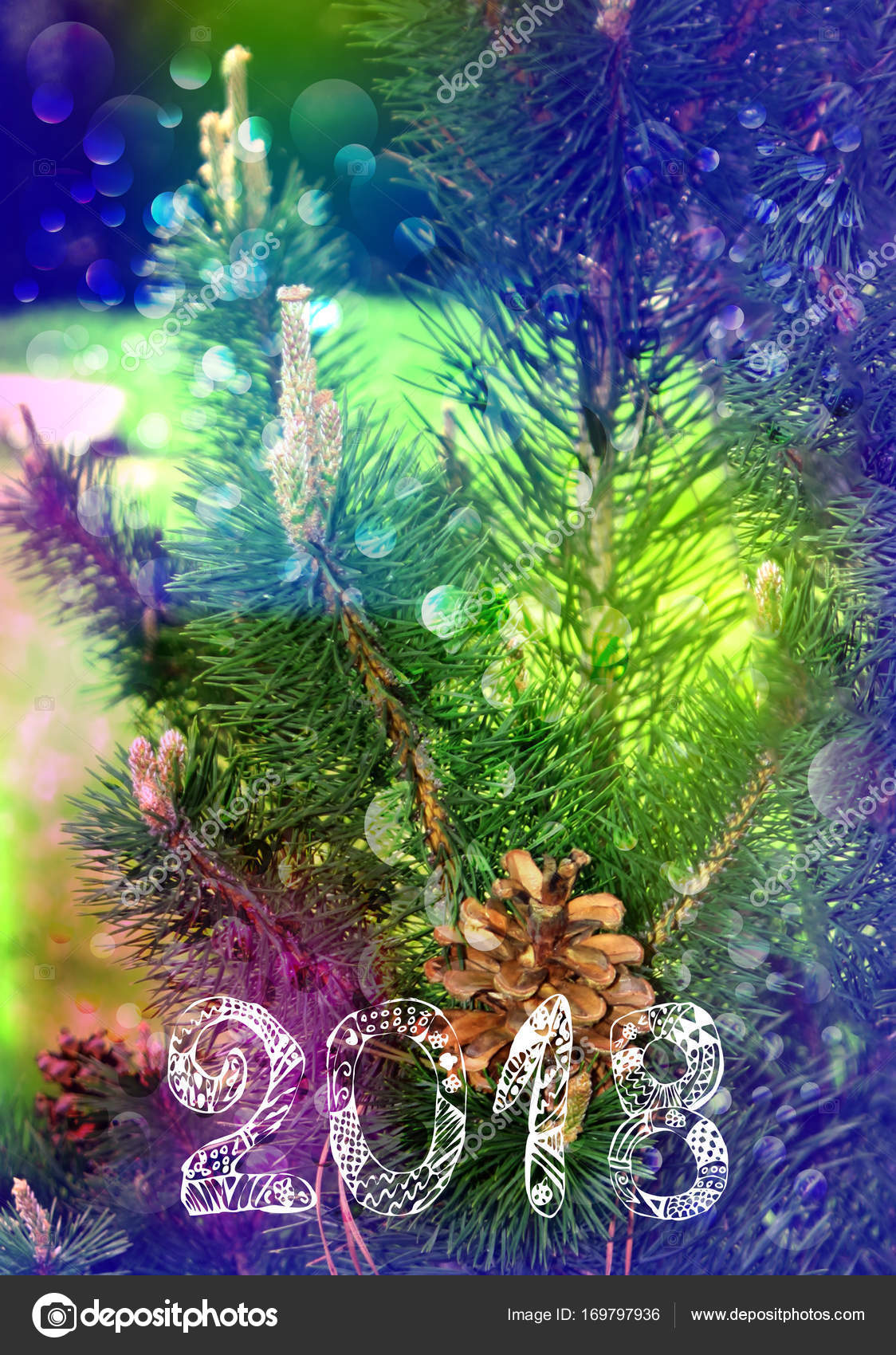 Bright multicolored card for the New Year. 2018. Christmas tree and ...