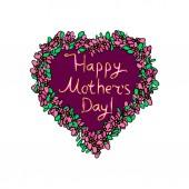 Herz mit Blumen herum. glücklicher Muttertag goldene Inschrift. Hand Draw. Doodle. Vektorbild auf isoliertem Hintergrund