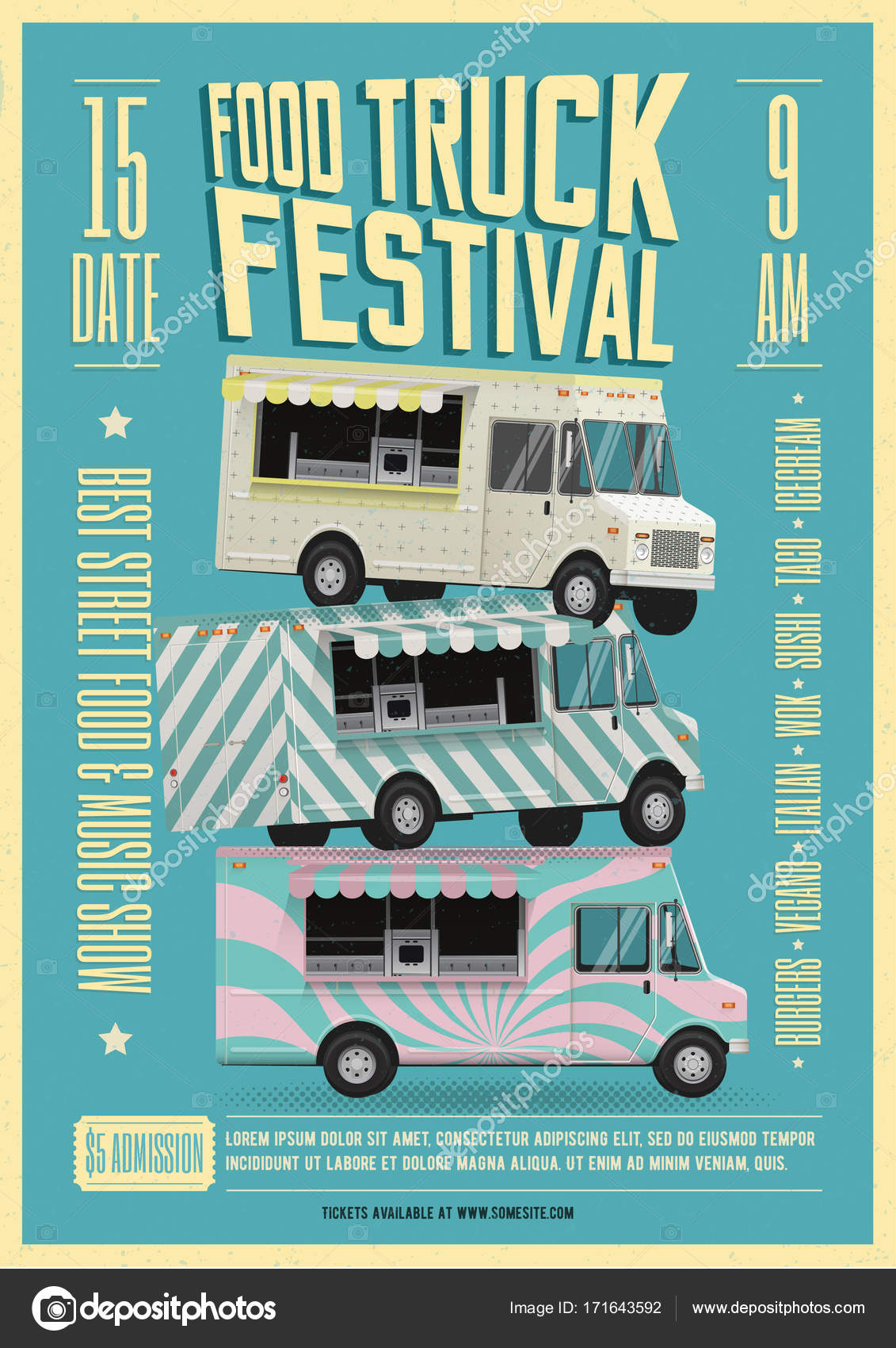 Food Truck Festival Poster Flyer Template Street Food Poster - Food truck flyer template