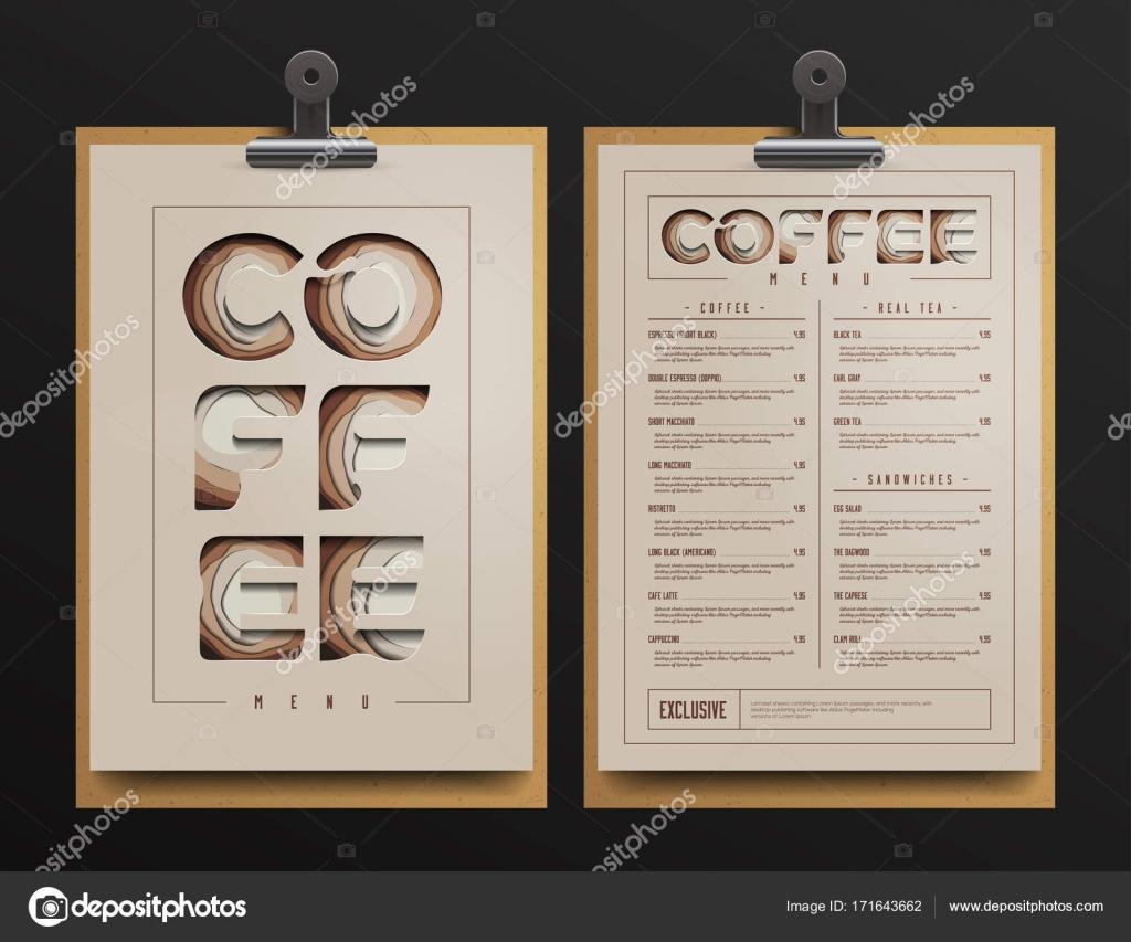 Coffee-Shop-Menü-Vorlage. Kaffee wagen Mock Up. Vektor-Illustration ...