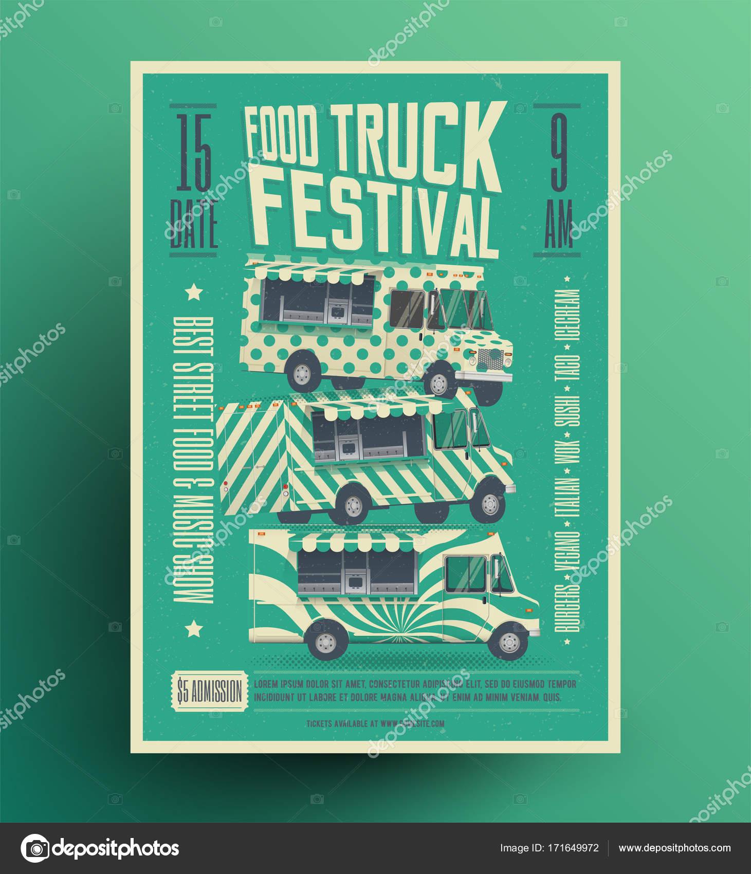 Street Food Truck Festival Poster Flyer Template Vector - Food truck flyer template
