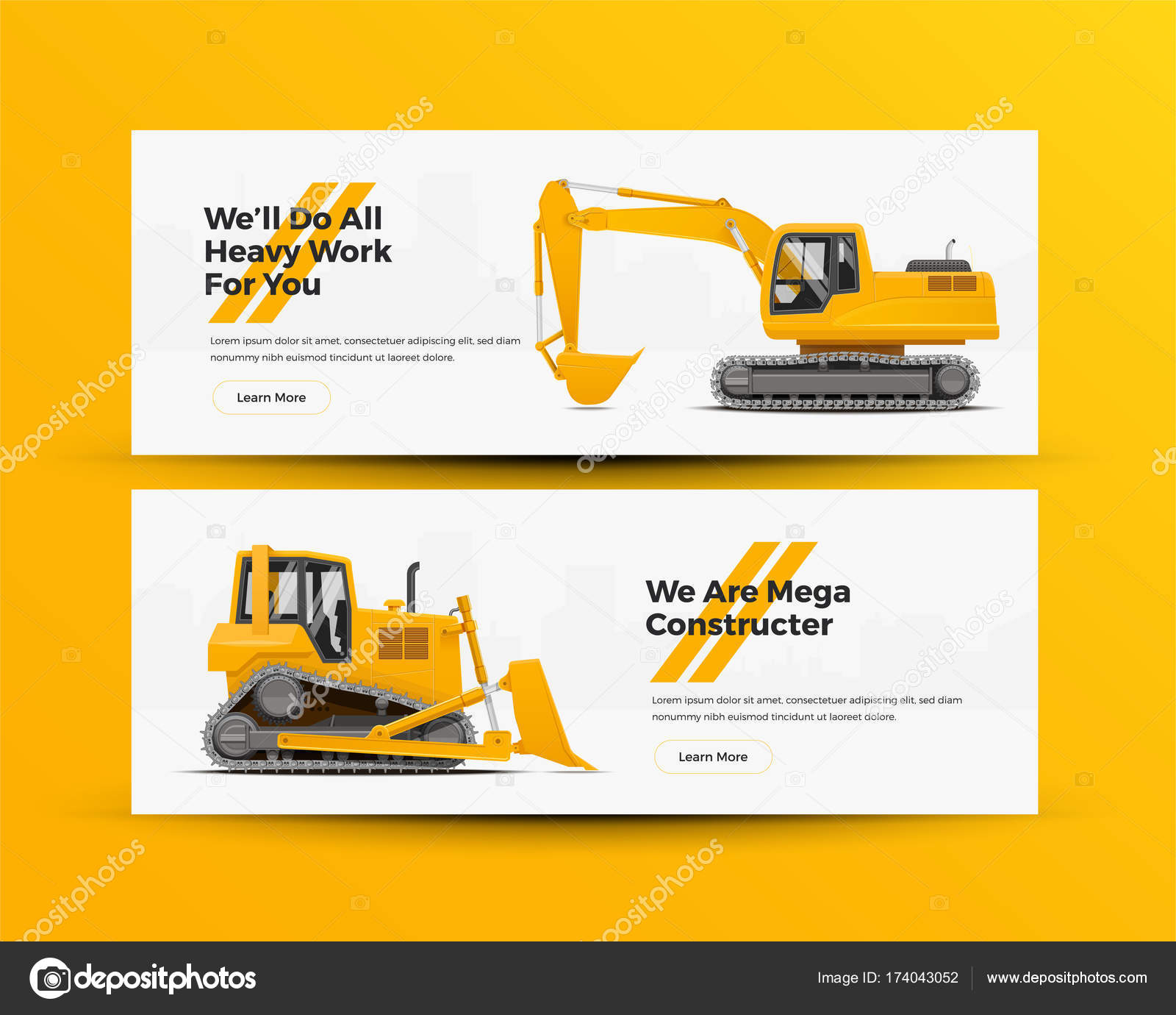 Construction Equipment Banners App Play Store Banners