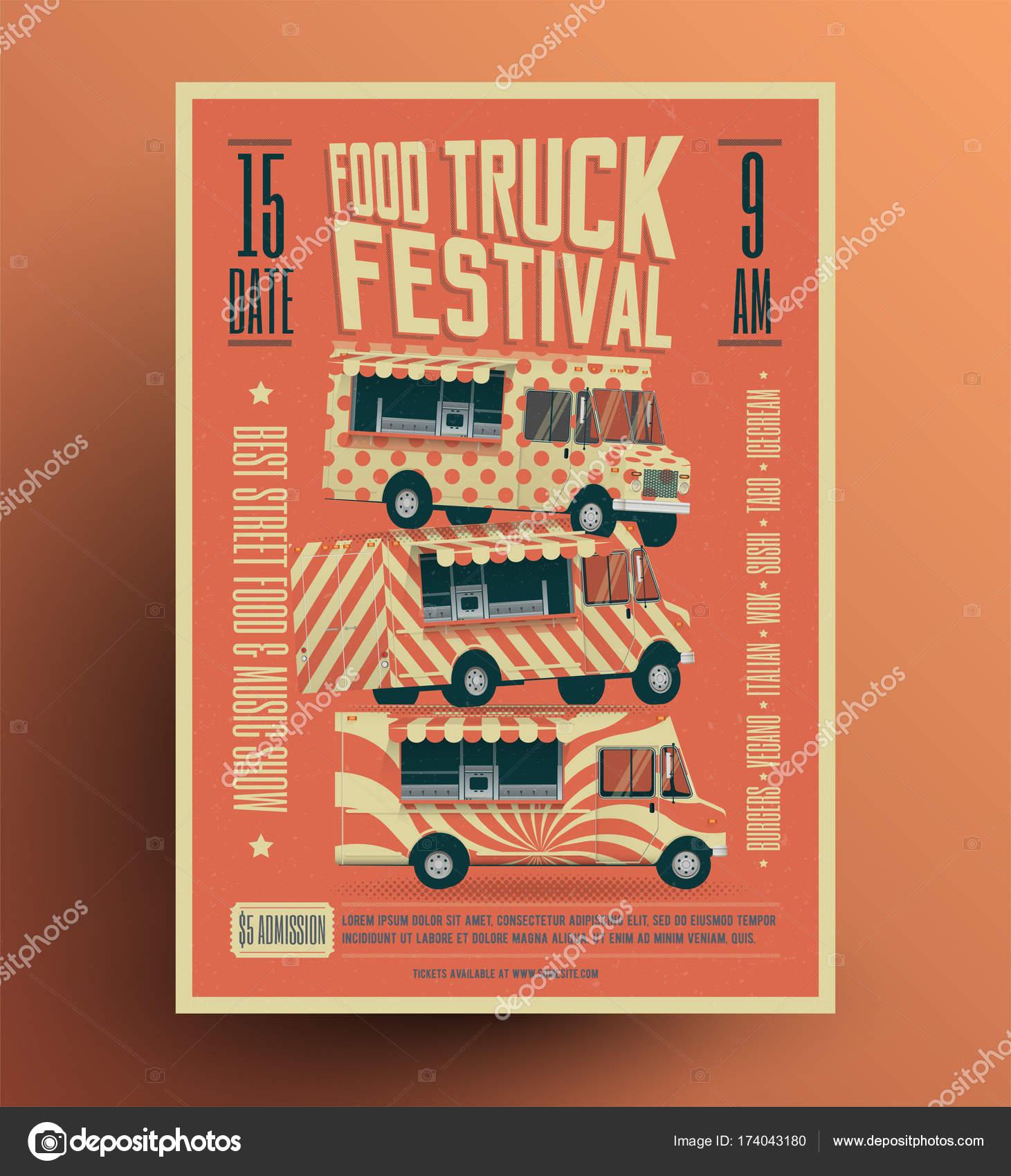 Lebensmittel Truck Street Food Festival Plakat Flyer Vorlage ...