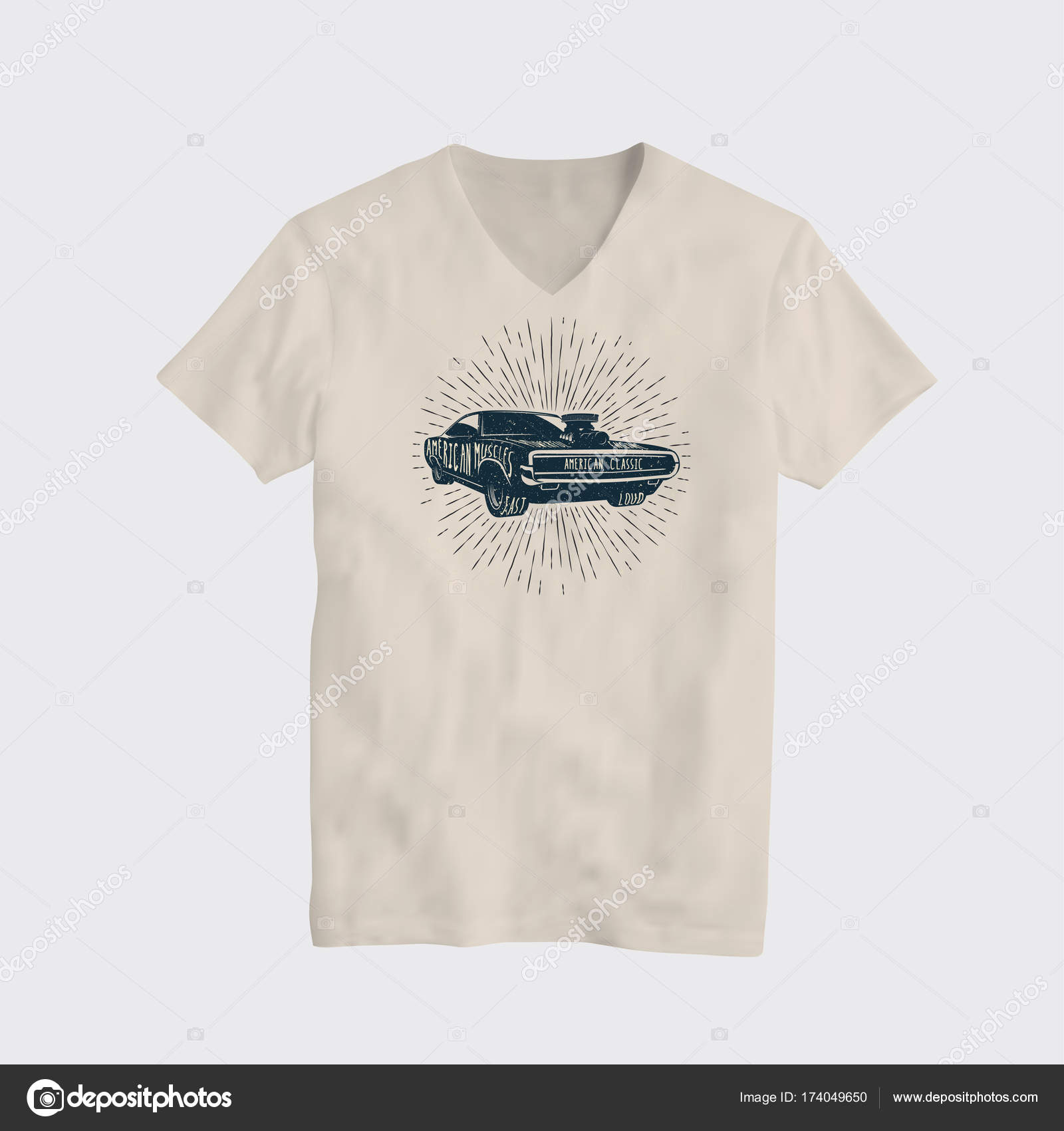 e662638c American Classic Muscle Car T-Shirt Design Template. Vector Illustration. — Stock  Vector
