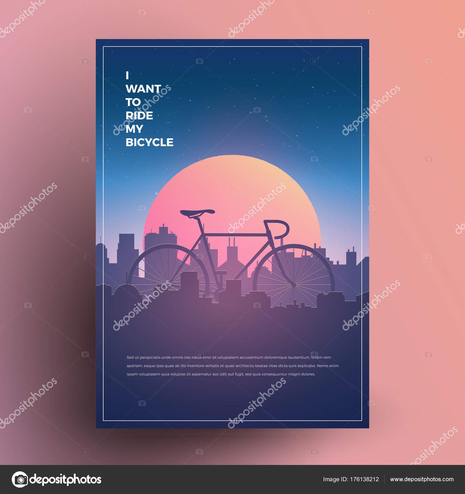 Ich möchte mein Fahrrad zu fahren. Moderne minimalistische Plakat ...