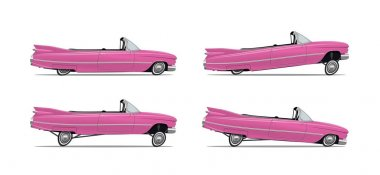 Vector Illustration of the Classic Cartoon American Car lowrider in different positions. Side view. For your poster flyer banner etc.