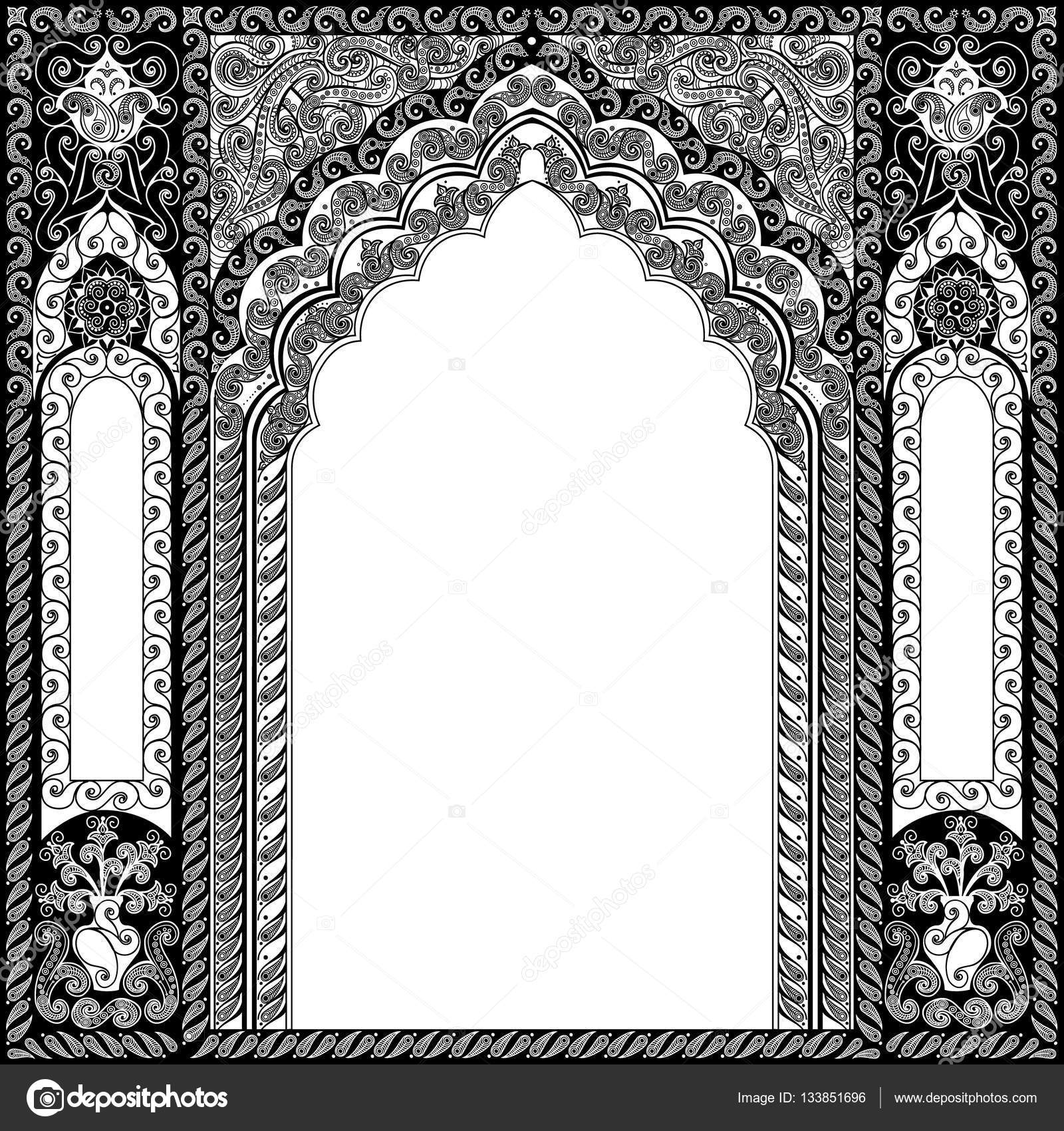 architectural arch in arabic or other eastern style color islamic vector cdr islamic vector 2d designs