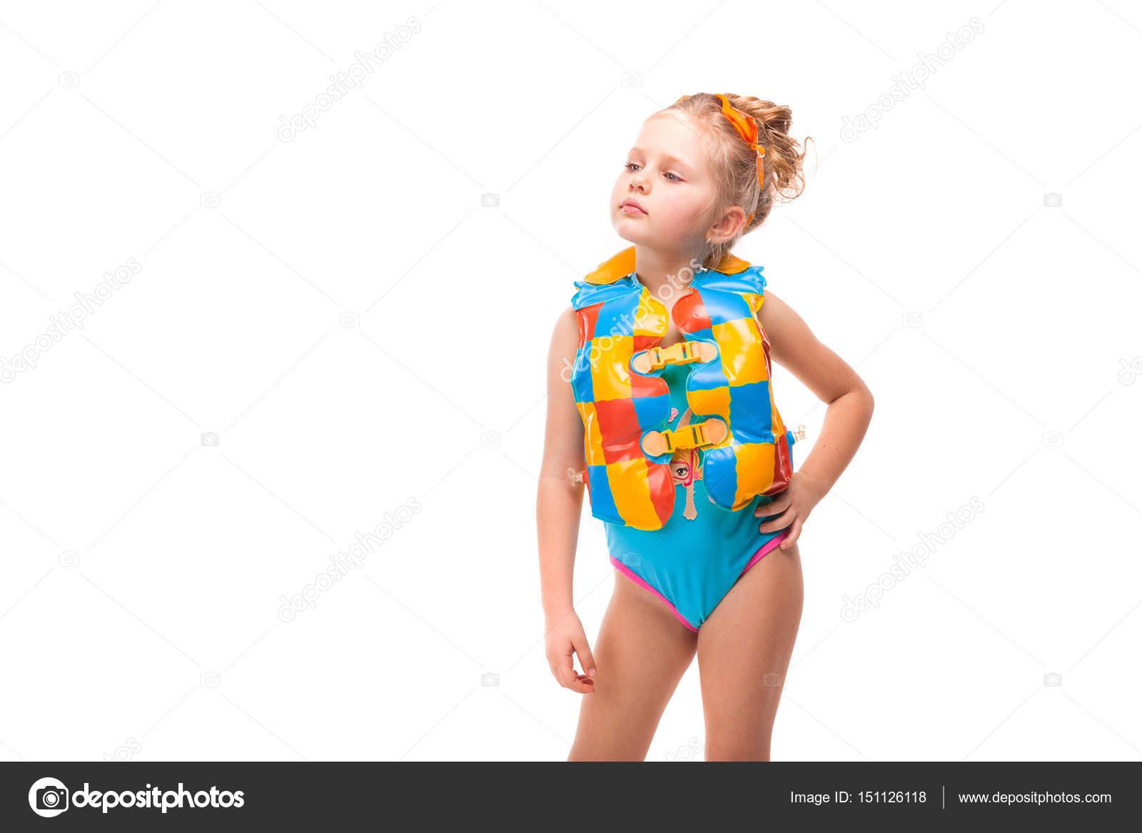 meisje in badpak en zwemvest stockfoto 169 fotoevent stock