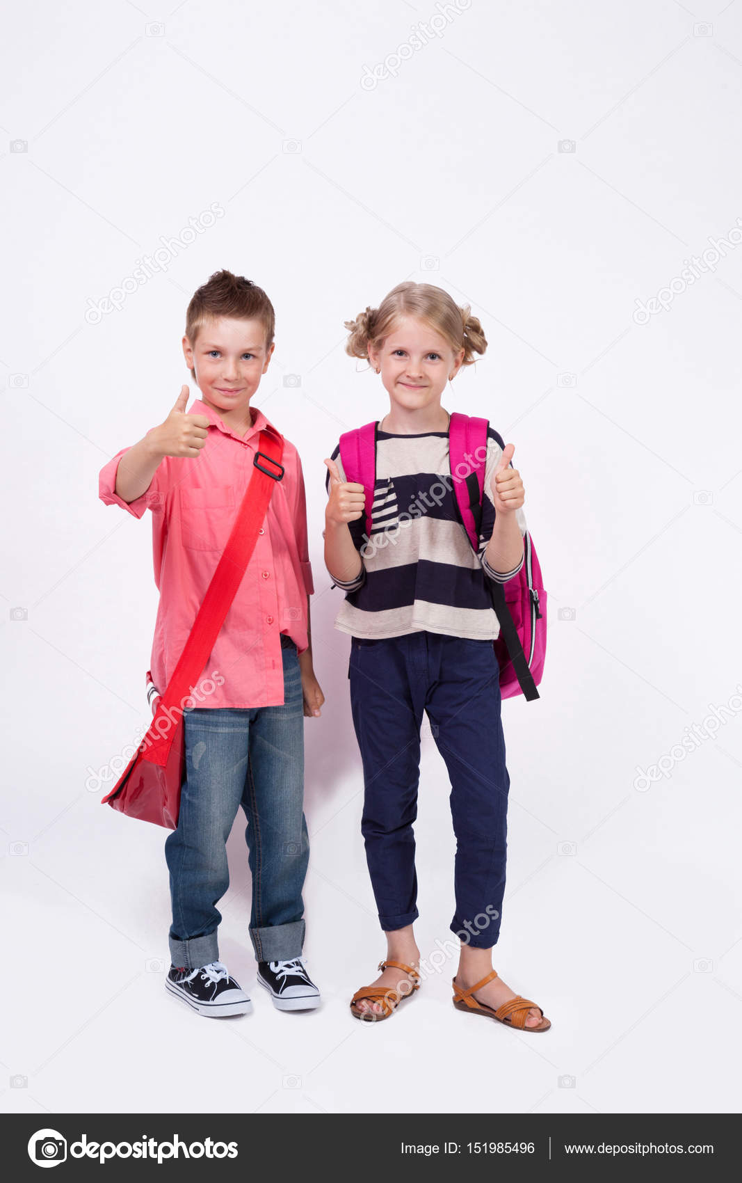 Two Children With Backpacks Stock Photo C Fotoevent Stock 151985496