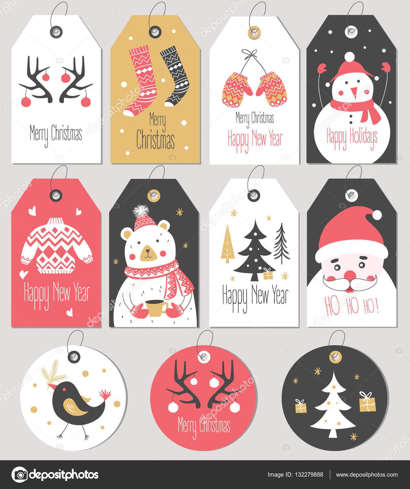 Geschenkanhänger Frohe Weihnachten.Frohe Weihnachten Und Neujahr Geschenkanhänger Und Karten