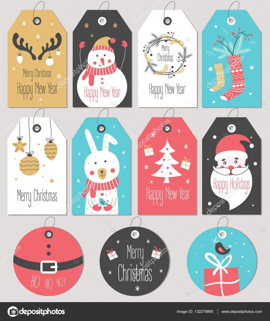 Geschenkanhänger Frohe Weihnachten.Set Merry Christmas And New Year Gift Tags And Cards Stockvektor