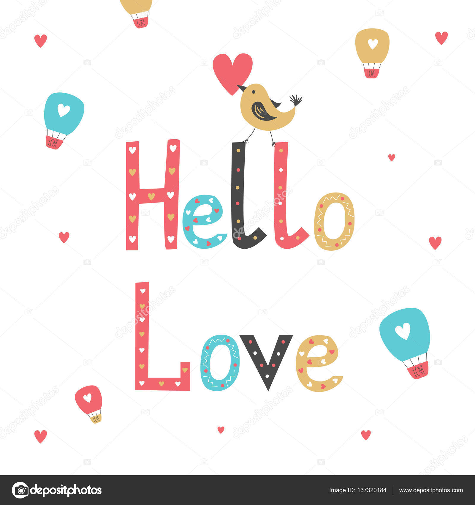 Handgezeichnete Schriftzug Plakat Hallo Liebe Karte Zum