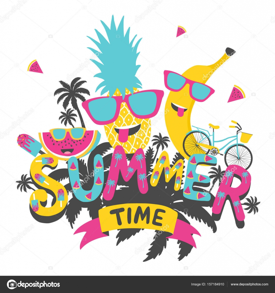 Summer Time Hand Drawn Typography Poster Greeting Card Bags For