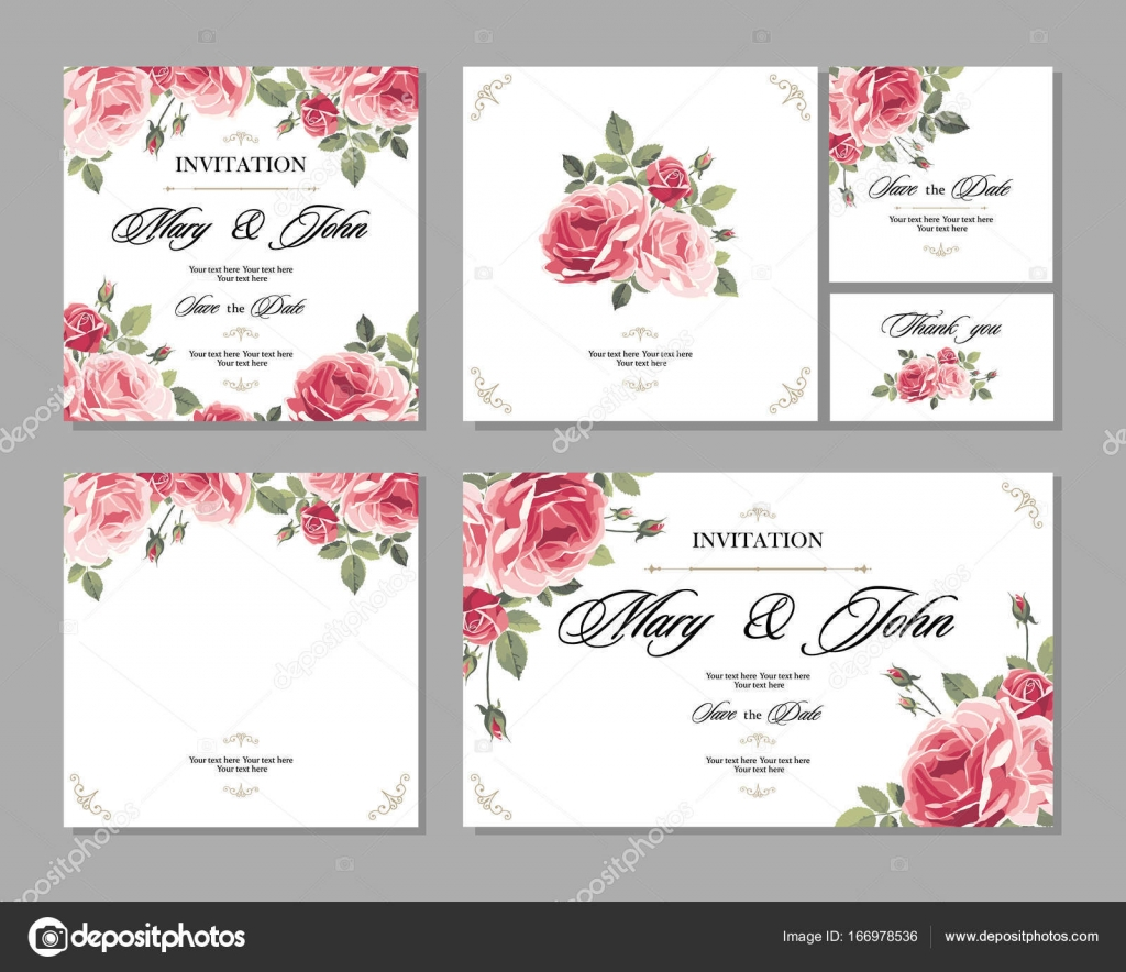 Set Wedding invitation vintage card with roses and antique ...