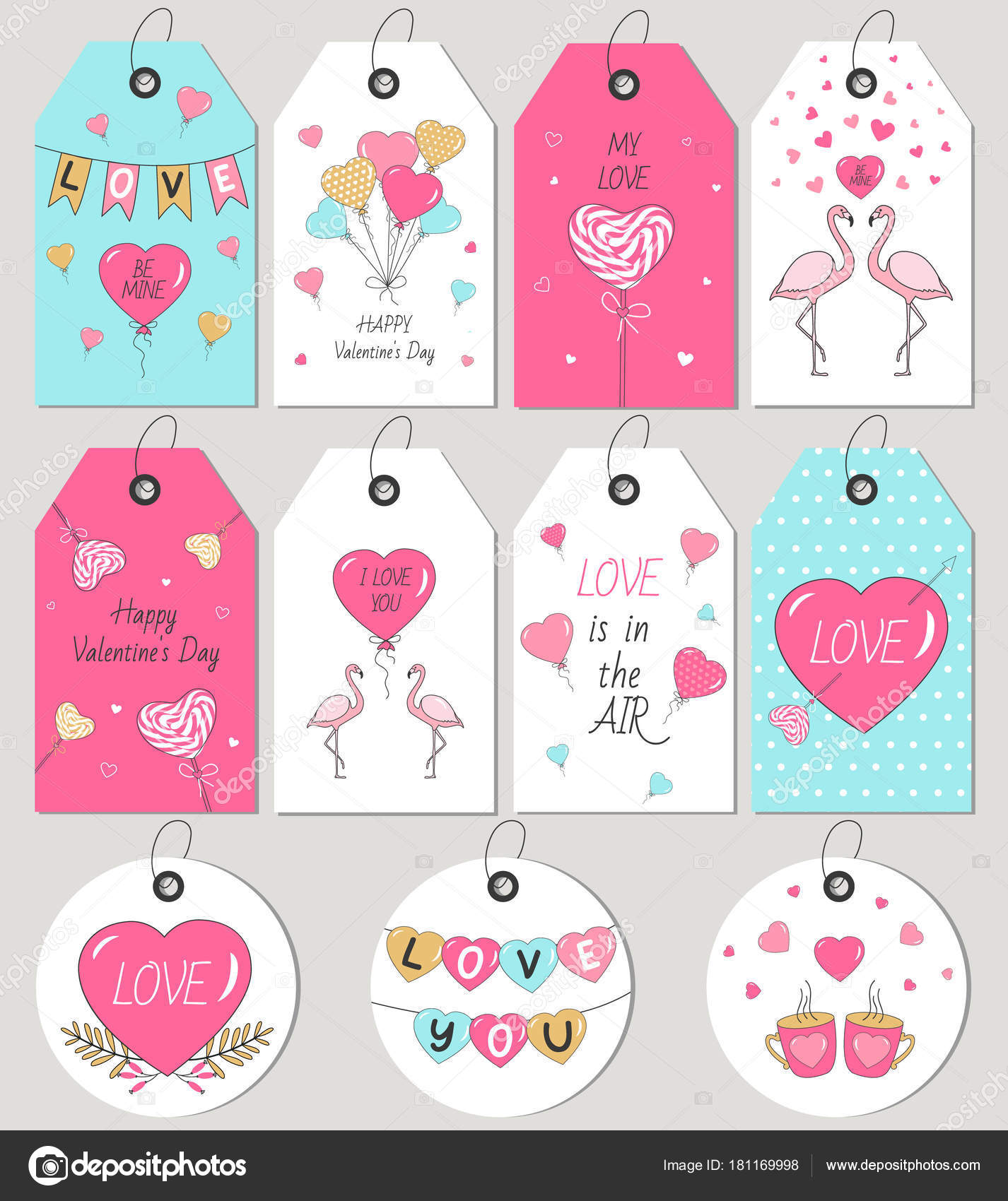 Valentine Day Gift Tags Cards Hand Drawn Design Elements Vector