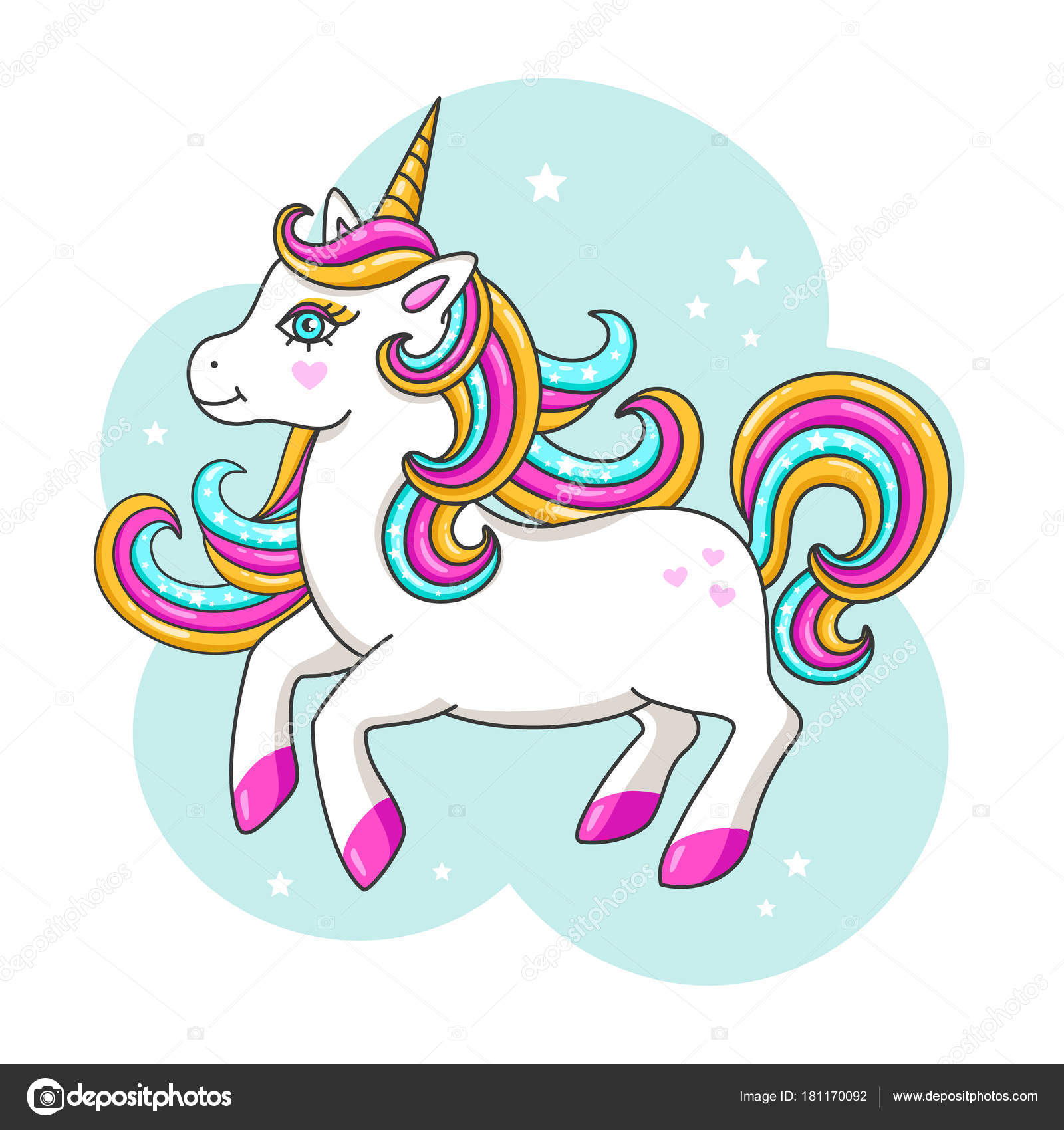 Weisse Susse Einhorn Vektor Illustration Stockvektor C Kate She