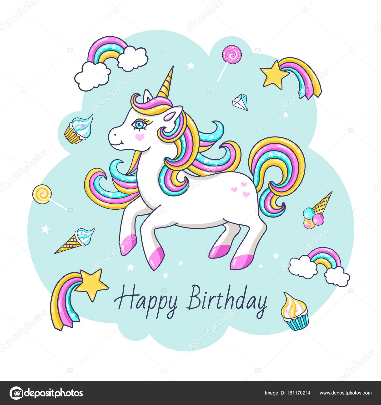 Happy Birthday Card Cute Unicorn Vector Illustration Stock