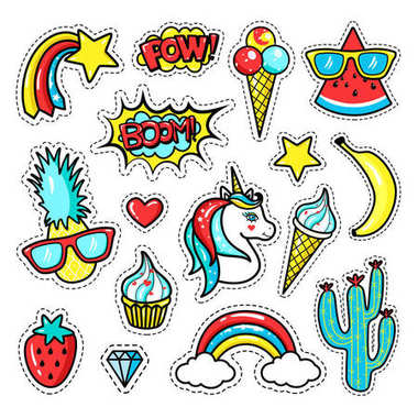 Fashion patch badges with unicorn, lips, hearts, stars, speech bubbles, rainbow; pineapple. Vector illustration in cartoon 80s-90s style.