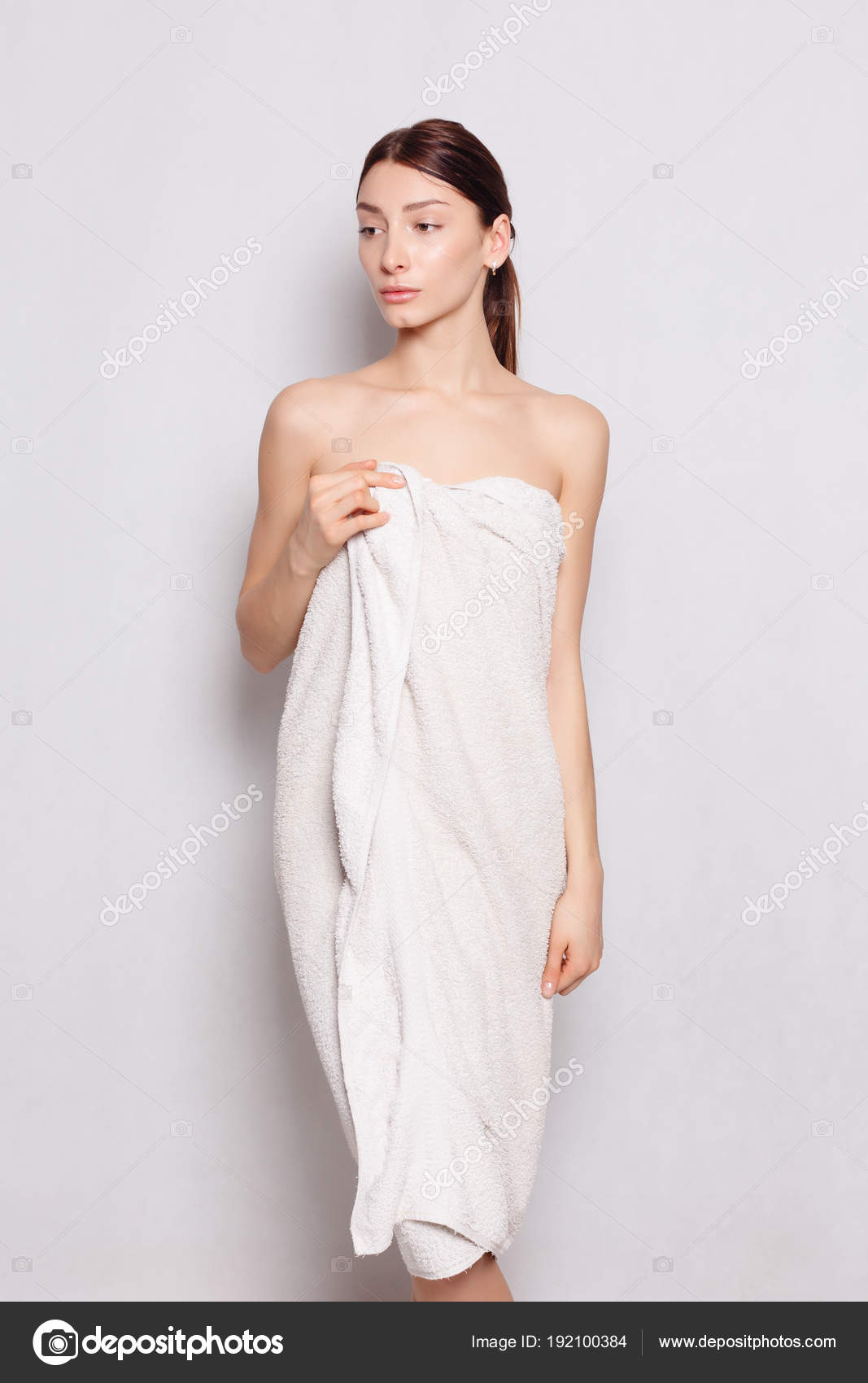 Beautiful woman in white bathrobe after spa — Stock Photo ... ffe452e84