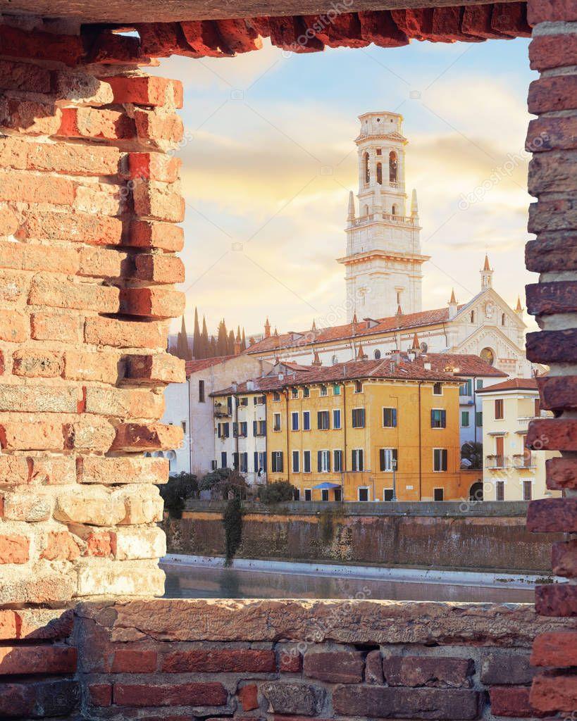 Old Verona town, view through brickwall window