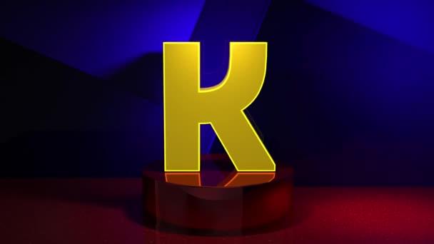 3D Render animační písmeno F písmo abeceda přechod 4K. Typografický prvek návrhu. Žluté písmo na modrém pozadí s červenými fragmenty.