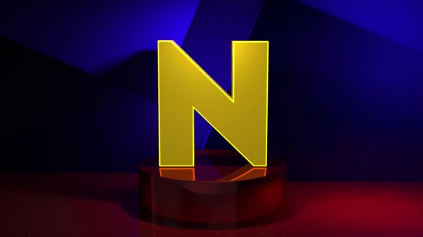 3D Render animation letter F font alphabet transition 4K. Typographic design element. Yellow font on a blue background with red fragments.