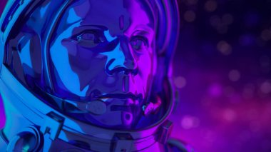 Cosmonaut Yuri Gagarin, the first person to travel in space April 12th 1961. Close-up in bright multi-colored neon colors. Against the background of space with depth of field. Colorful lighting