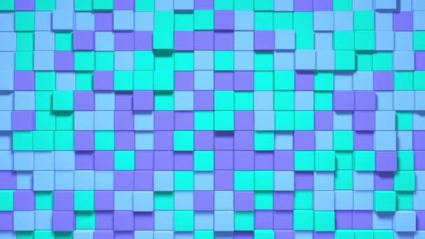 Cubic Dynamic Movement Undulate Green, blue, bivid, purple. Animované pozadí. 4K Unikátní krychle. Abstraktní barevné kostky. Bezešvé smyčky