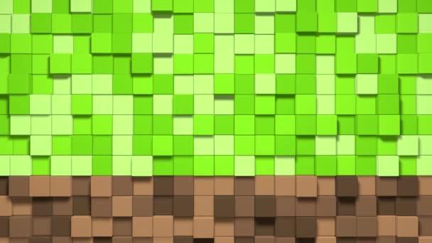 3D Abstraktní smyčka kostek. Videohry izometrické geometrické mozaiky vlny vzor. Výstavba kopců krajiny pomocí hnědé a zelené travnaté bloky
