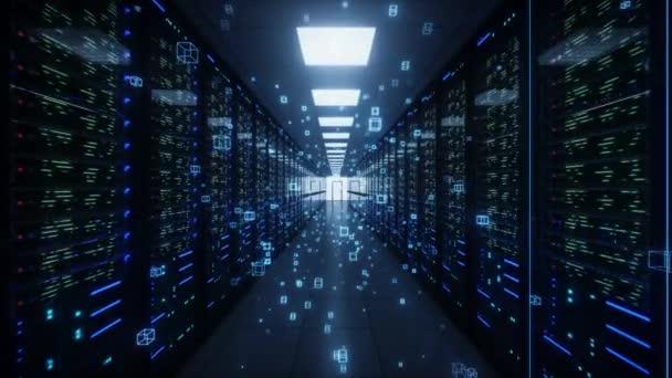Flug durch Rack-Server im Rechenzentrum mit neuronaler Netzwerkverbindung. Konzept des Supercomputers. Digitale Informationsströme fließen durch Netzwerke. Mesh-Panels in einem Serverraum. 4K Animation 3D