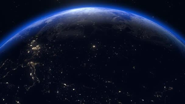 Planet Erde aus dem All. Schöne Skyline der Welt im Sonnenaufgang. Planeten Erde rotierende Animation. Clip enthält Raum, Planet, Galaxie, Sterne, Kosmos, Meer, Erde, Sonnenuntergang, Globus. 4k 3D Render. Bilder von der NASA