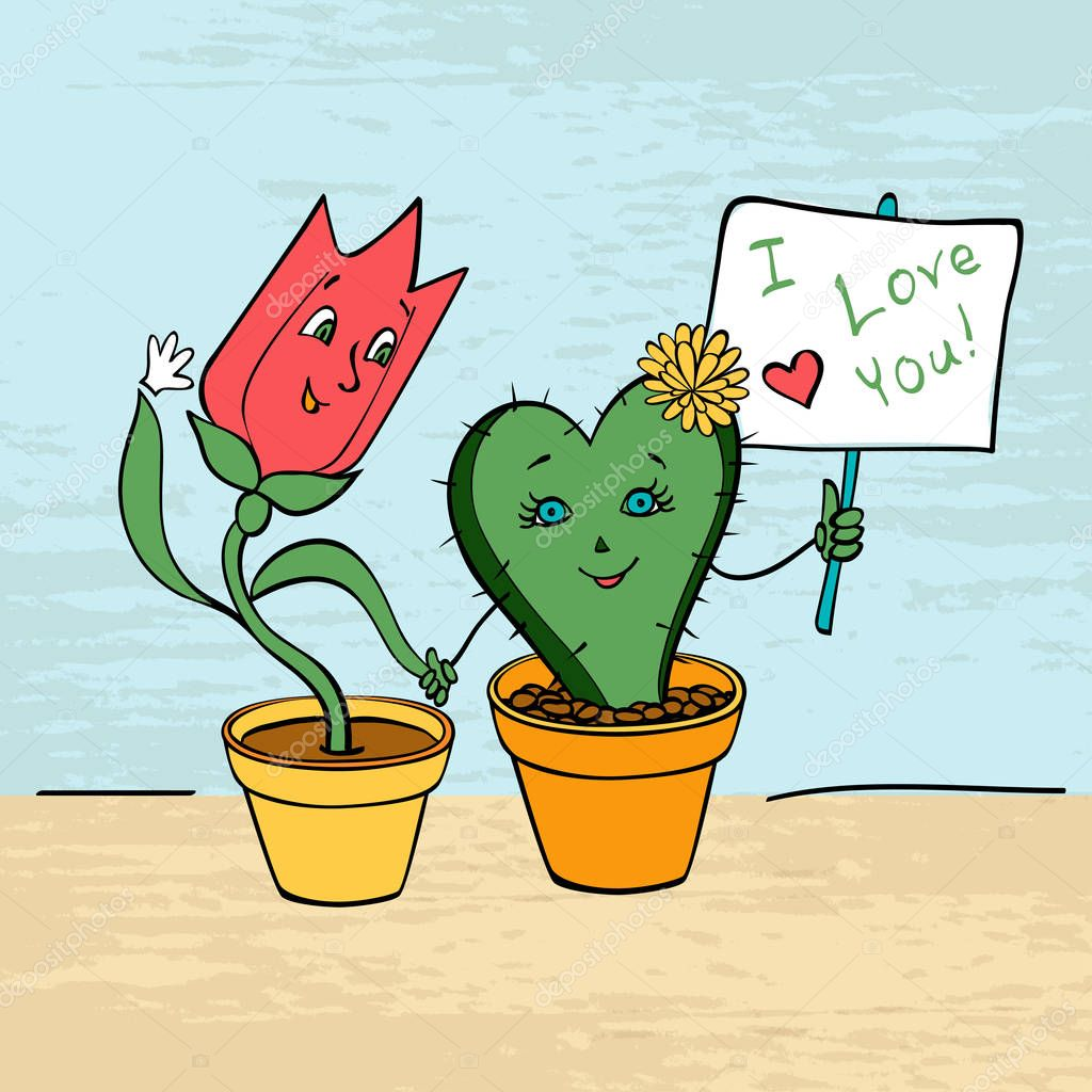 card lovers Tulip and cactus hold hands