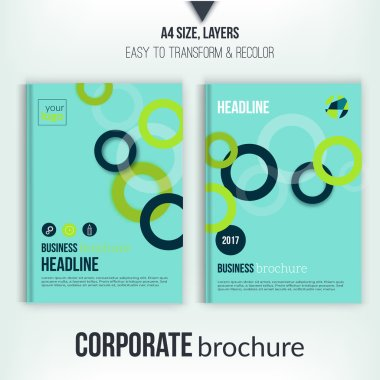 Brochure cover with overlapping circles illustration. Geometric abstract flyer background. Blue Corporate identity. Business professional poster in A4 size.