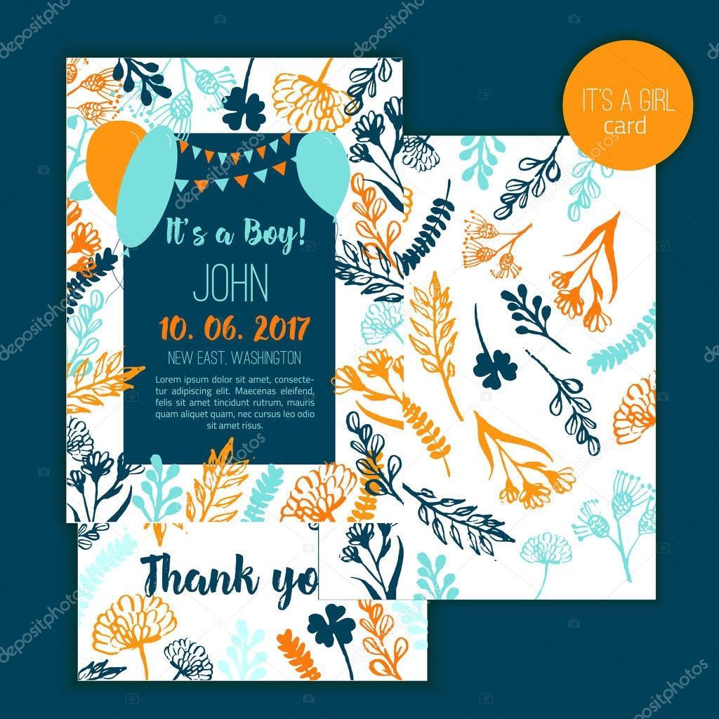Baby-Dusche Einladung Vorlage mit Hand-Schriftzug und floralen ...