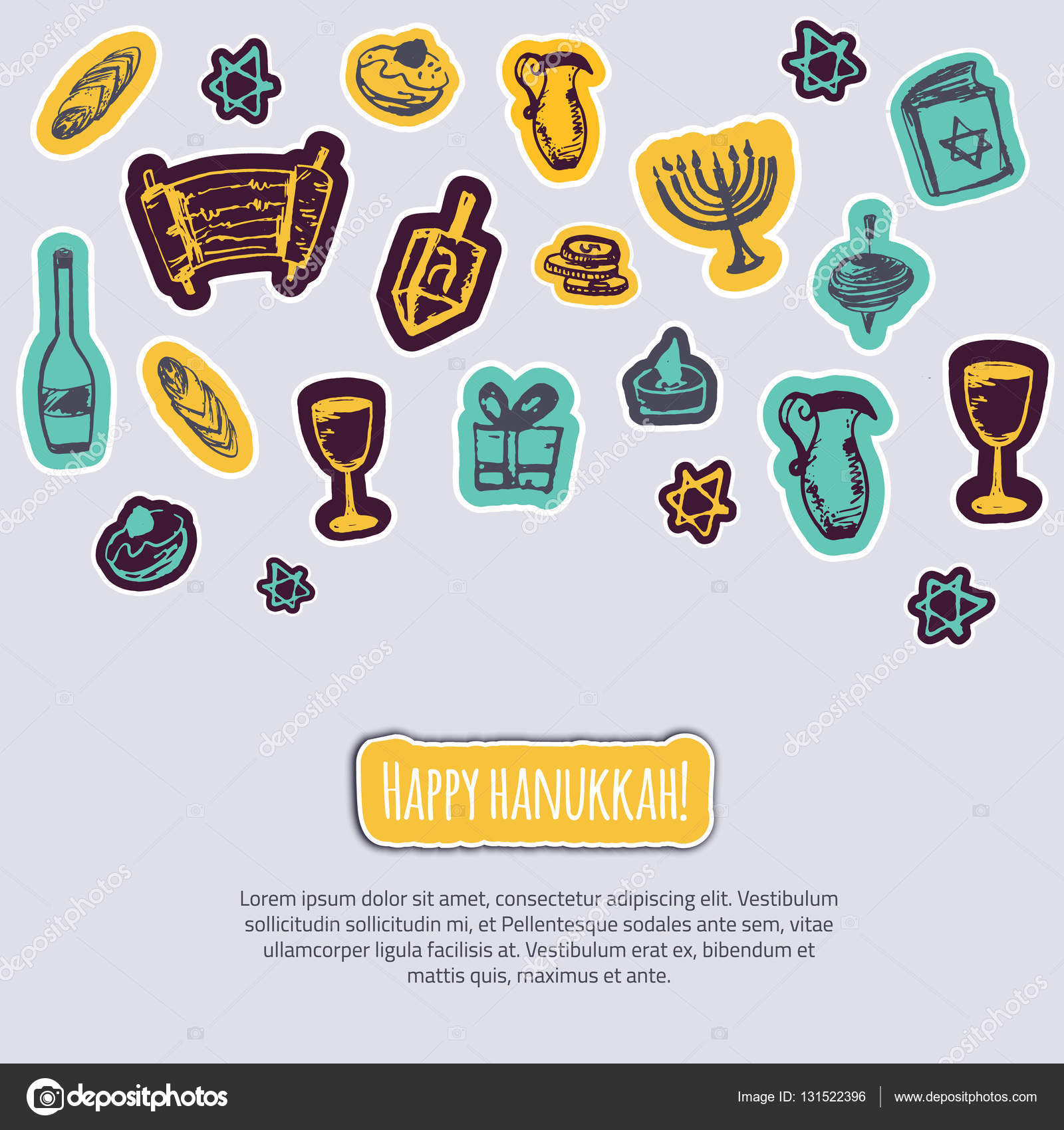 Happy hanukkah greeting card with hand drawn elements and lettering happy hanukkah greeting card with hand drawn elements and lettering on gray background menorah dreidel candle hebrew star for your design vector by m4hsunfo