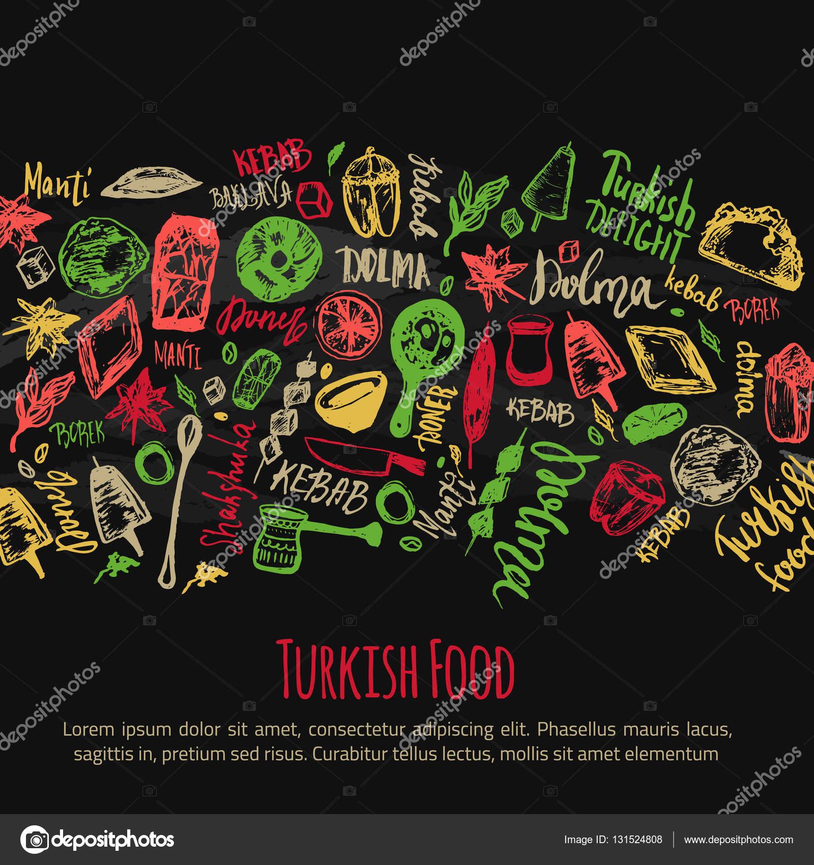Türkische Küche von hand gezeichnete Set mit Schriftzug und Getränke ...