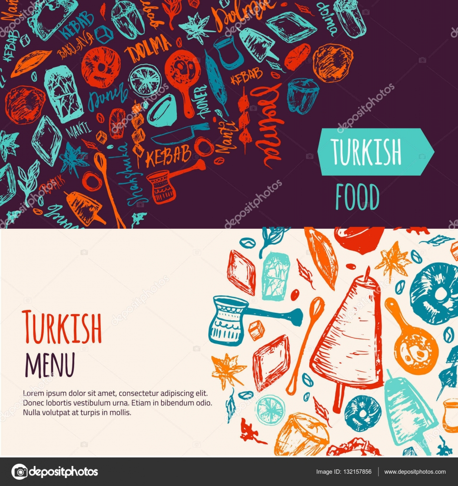 Шакшука турецкая. Турецкая кухня рука нарисованные баннер ...