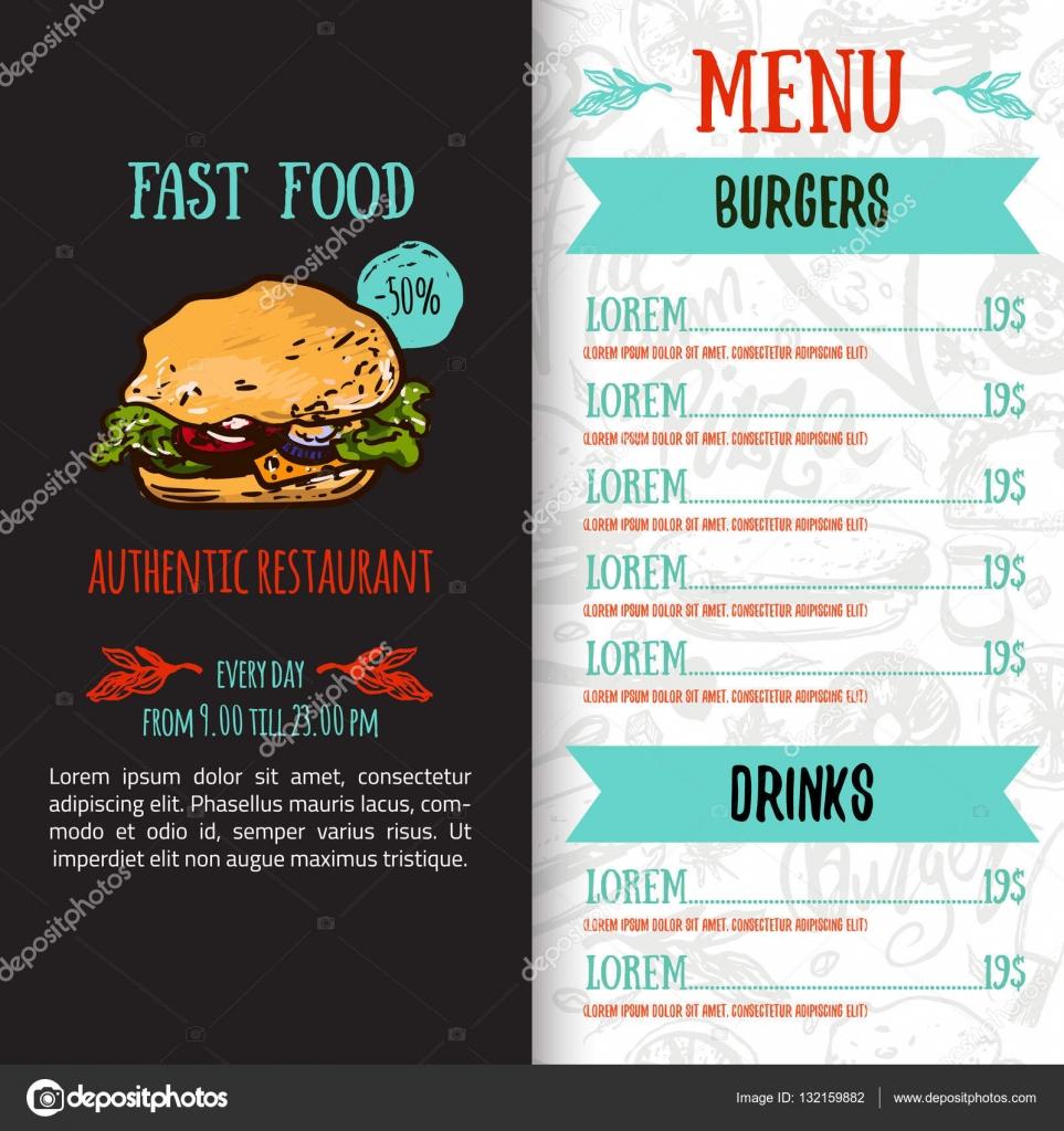 fast food men design vorlage mit handgezeichneten vektor illustration cover der speisekarte mit burger pizza hot dog mit nahtlose muster vektor von - Getrankekarte Muster