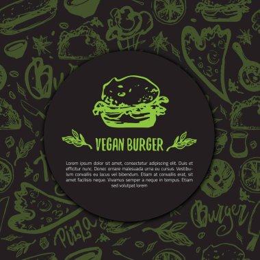 Veggie burger rough sketch background with lettering, hot dog, pizza on dark background.