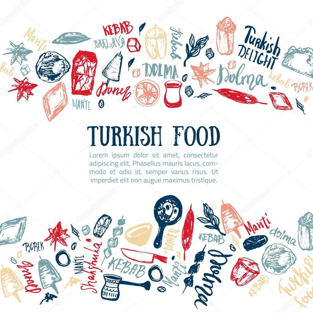 Турецкая кухня рука нарисованные набор с буквами и напитки ...