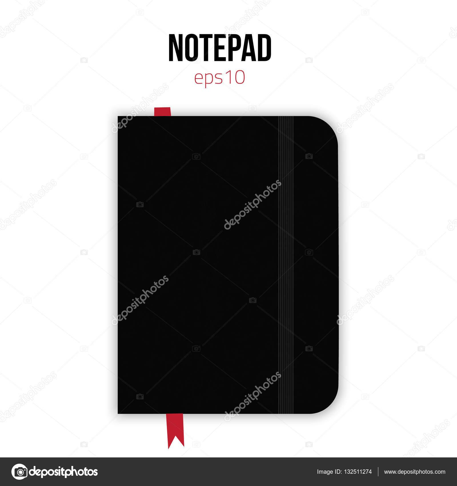 Schwarzen Interfacemodule Vorlage mit Gummiband und rote Lesezeichen ...