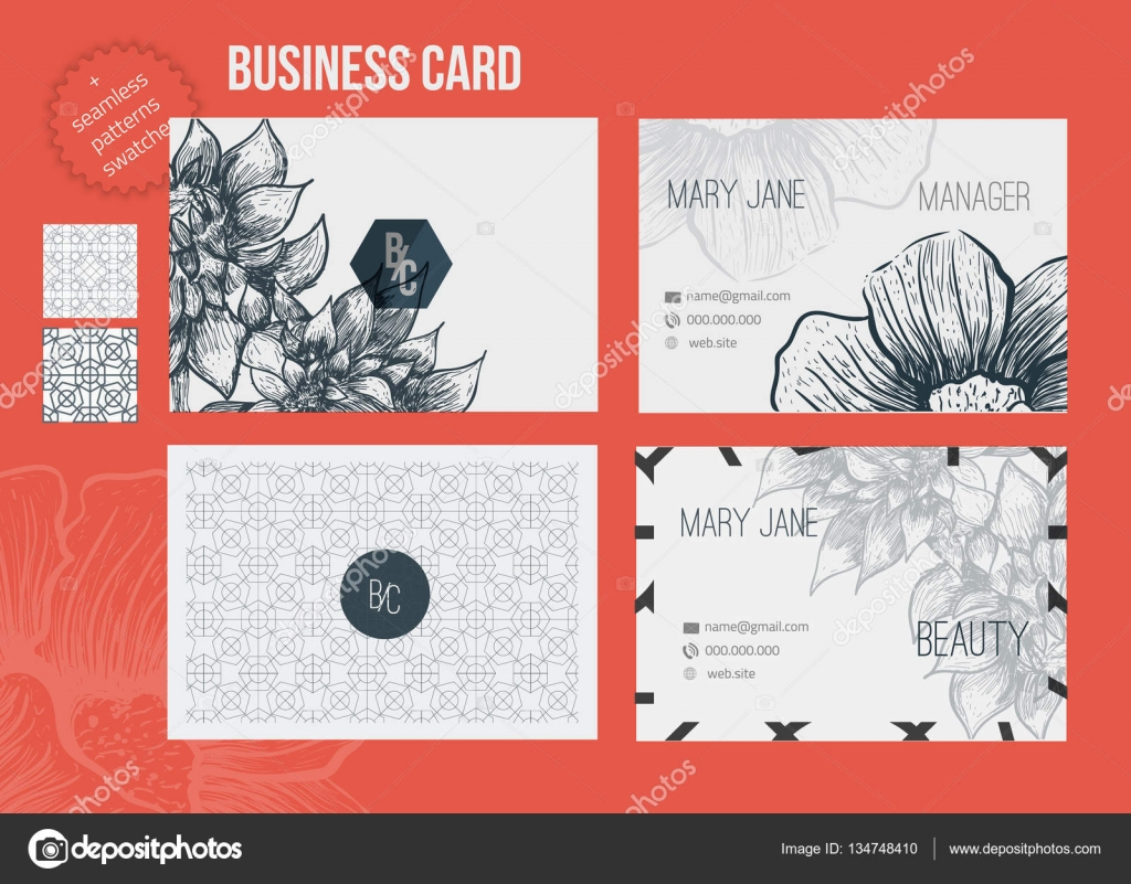business card template set editable vector illustration with sketch
